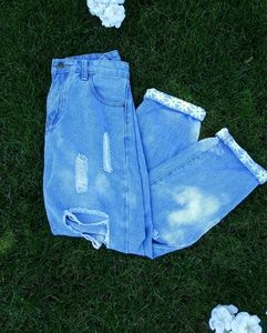 Denim - Mom Jeans with Hand Painted Flowers
